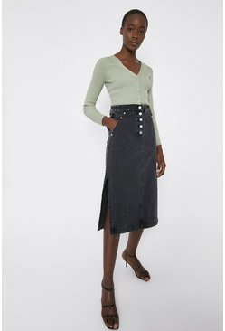 Black Button Detail Side Split Skirt