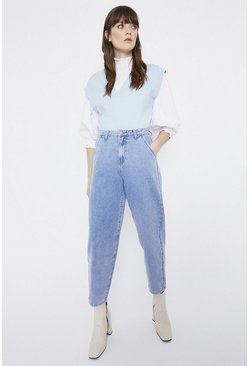 Light wash Cropped Mom Jean