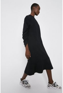 Black Drawstring Sleeve Sweat Midi Dress