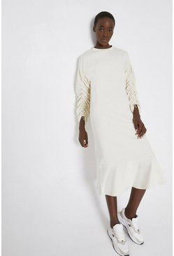 Ivory Drawstring Sleeve Sweat Midi Dress