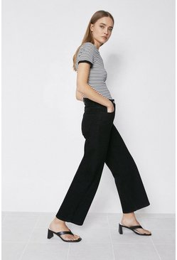 Black Organic Wide Leg Cropped Jean