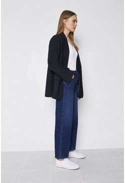 Mid wash Organic Wide Leg Cropped Jean