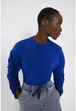 Bright blue Drawstring Sleeve Sweat