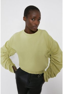 Light green Drawstring Sleeve Sweat
