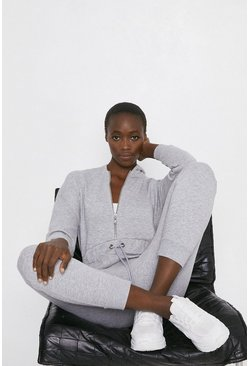 Grey Zip Through Hooded Lounge Jumpsuit