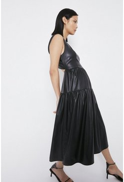 Black Faux Leather Tiered Lace Back Dress