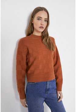 Camel Checkerboard Stitch Jumper