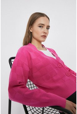 Candy pink Checkerboard Stitch Cardigan