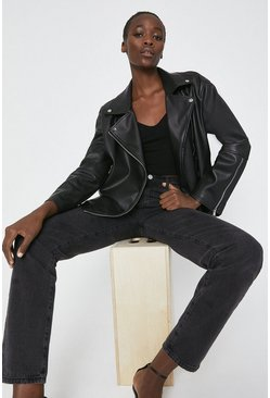 Black Faux Leather Relaxed Biker