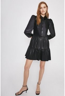 Black Puff Sleeve Tiered Faux Leather Shirt Dress