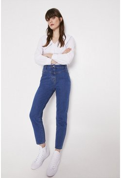 Mid wash Yoke Detail Mom Jeans