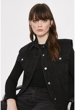 Washed black Sleeveless Longline Denim Jacket