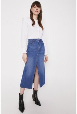 Mid wash Split Front Denim Midi Skirt