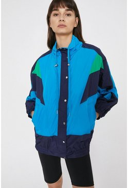 Bright blue Colour Block Sports Shell Jacket