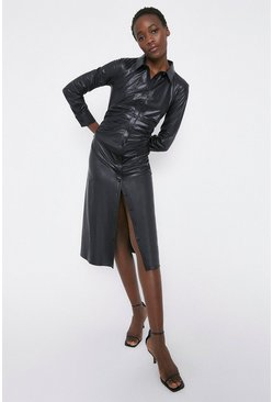 Black Faux Leather Shirt Dress With Ruch Detail