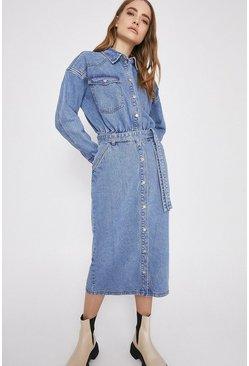 Mid wash Blouson Waist Denim Midi Dress