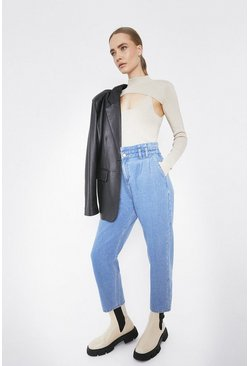 Light wash Paper Bag Waist Denim Trouser