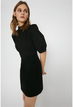 Black Faux Suede Mini Shift Dress