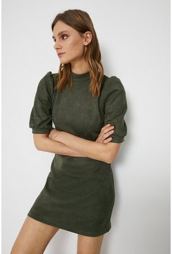 Khaki Faux Suede Mini Shift Dress