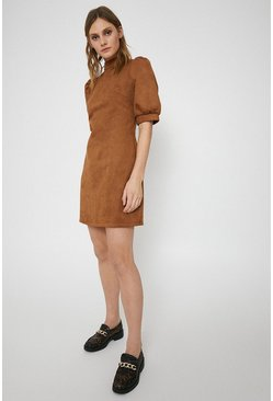 Tan Faux Suede Mini Shift Dress