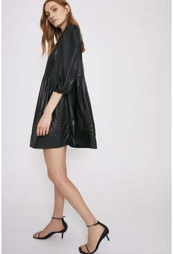 Black Faux Leather Pleat Detail Smock Dress