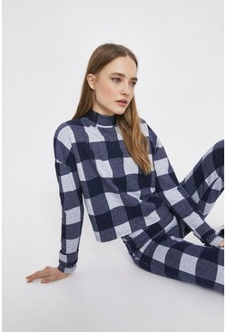 Navy Check Funnel Neck Top