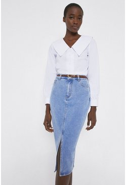 Mid wash Split Front Denim Pencil Skirt
