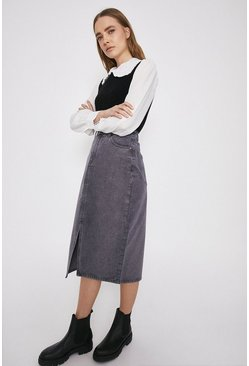 Washed black Split Front Denim Pencil Skirt