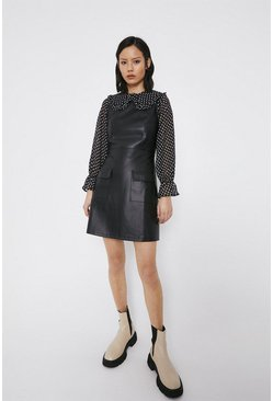 Black Faux Leather Pocket Detail Shift Dress