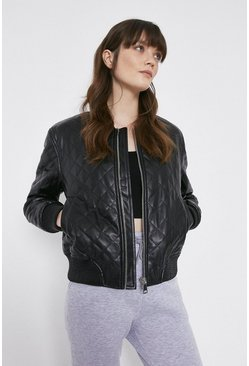 Black Faux Leather Bomber