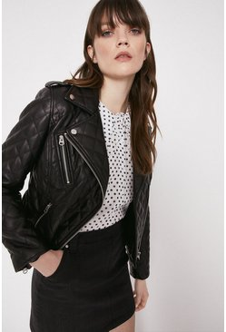 Black Faux Leather Quilted Biker