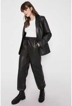 Black Faux Leather Balloon Jogger