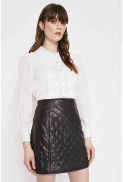 Black Faux Leather Quilted Pelmet Skirt