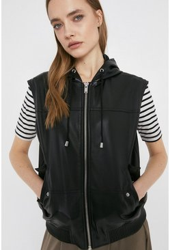 Black Faux Leather Sleeveless Bomber