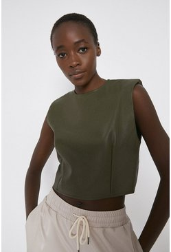 Khaki Faux Leather Lip Shoulder Top