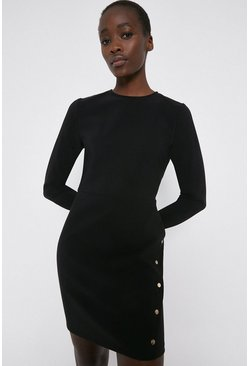 Black Crepe Shift Dress with Gold Popper Detail