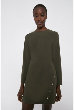 Khaki Crepe Shift Dress with Gold Popper Detail