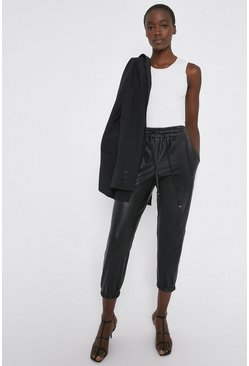 Black Faux Leather Jogger