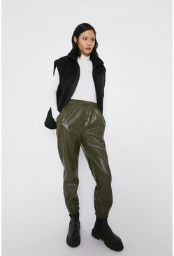 Khaki Faux Leather Jogger