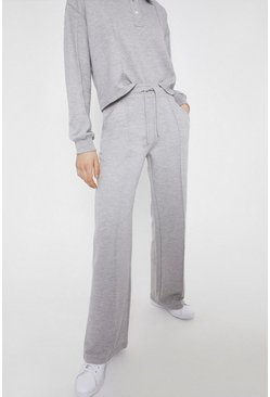 Grey Pintuck Wide Leg Jogger