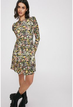 Multi Printed Puff Sleeve Short Dress