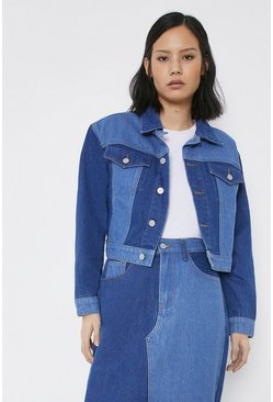 Mid wash Patchwork Denim Cropped Jacket