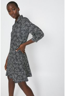 Black Printed Relaxed Shirt Dress