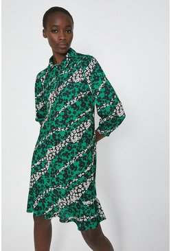 Green Printed Relaxed Shirt Dress