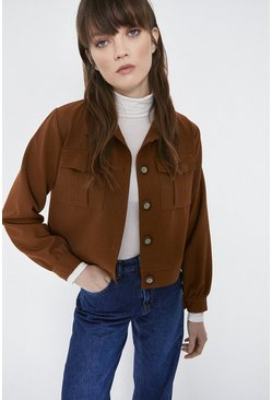 Tan Twill Button Through Western Jacket