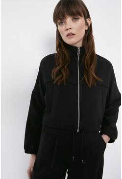 Black Relaxed Twill Track Neck Zip Through Jacket