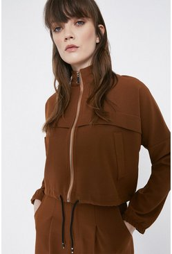 Tan Relaxed Twill Track Neck Zip Through Jacket