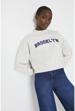 Grey Brooklyn Slogan Sweat