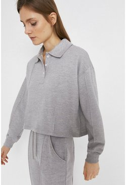 Grey Collared Button Sweat