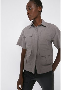 Grey Nylon Utility Pocket Detail Shirt